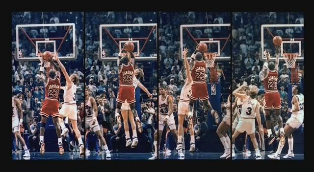 Desarrollo de un frontal de impulso puro (Michael Jordan, 1989). Se aprecia la firme determinación de que el balón preceda al rostro tras el golpe de tracción por medio de la mecánica vertical del antebrazo de fuerza.