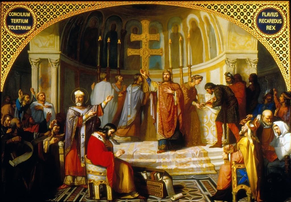 El  III Concilio de Toledo, un lienzo de José Martí y Monsó de 1862 que retrata la conversión de Recaredo I al catolicismo.