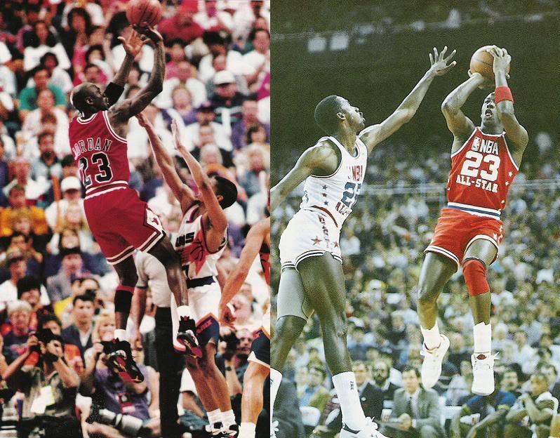 Ejemplo de frontal de impulso intacto ante dos desequilibrios leves. La resistencia mecánica en Michael Jordan a todo tipo de desplazamientos en el aire sigue ocupando un plano hegemónico. En términos generales la mecánica frontal es la más resistente de cuantas los jugadores emplean.