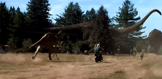 Quién no ha soñado con hacer una carrera en moto con un puñado de dinosaurios.