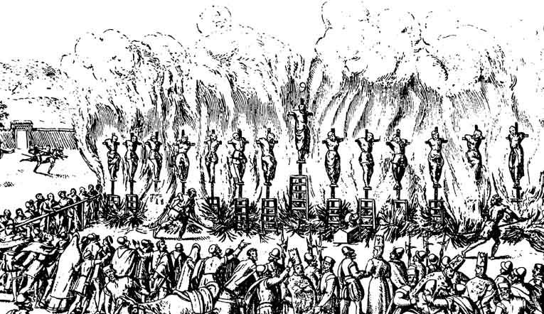 Detalle del grabado de Jan Luykens que representa la ejecución de luteranos acometida por la Inquisición en Valladolid en 1559.