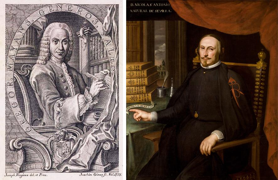 Gregorio Mayans –izda.– en un dibujo de Joaquim Giner de 1755 y Nicolás Antonio –dcha.–, retratado por Domingo Martínez en el siglo siglo XVIII.