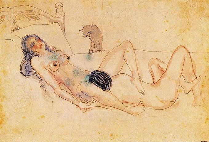 2 Picasso Dos desnudos y un gato