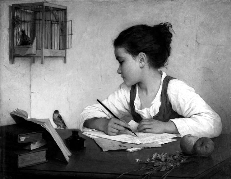 A Girl Writing; The Pet Goldfinch, de Henriette Browne. V&A Museum (DP)