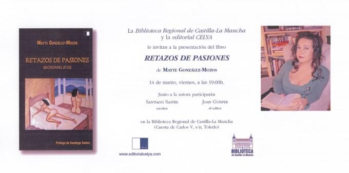 Invitación a presentación libro Retazos de Pasiones