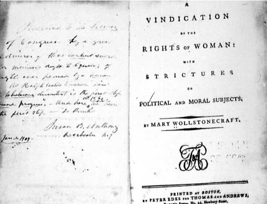 Primera edición impresa de Vindicación de los derechos de la mujer, de Mary Wollstonecraft (DP)