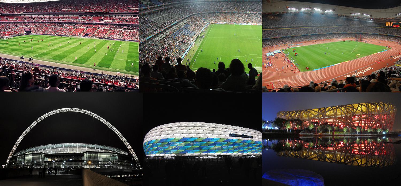 Los interiores y los exteriores del nuevo Wembley, el Allianz Arena y el Nido de Pájaro de Pekín. Fotos de Lee Thomas, Björn Láczay, akiwitz, Martin Pettitt, Markus Unger y Curt Smith (CC)