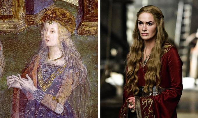 Lucrecia como Santa Catalina de Alejandría en un fresco de Pinturicchio de 1492 DP HBO Canal +