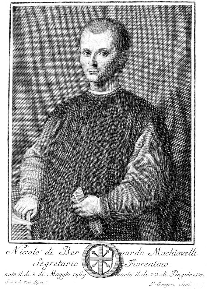 Un retrato de Maquiavelo en Opere di Niccolò Machiavelli de 1782. Imagen Santi di Tito DP.