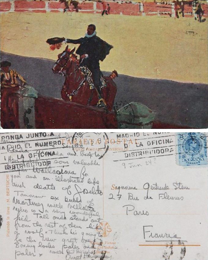 Una postal de Ernest Hemingway a Gertrude Stein en 1924 DP.