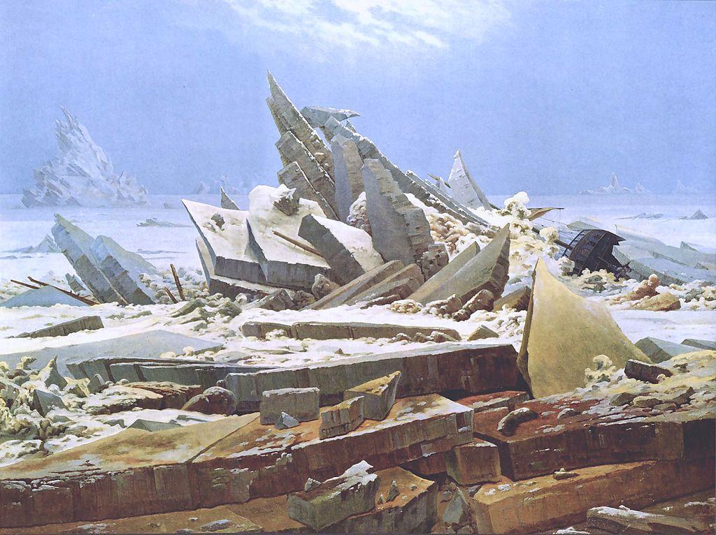 """""""The Sea of Ice"""" por Caspar David Friedrich (1823-4), inspirado por la expedición de Parry en 1819–1820."""