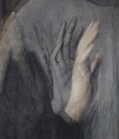 Detalle del retrato del matrimonio Arnolfini, con el dibujo original del gesto revelado por el estudio de infrarrojos. Rachel Billinge and Lorne Campbell, National Gallery, 1995.