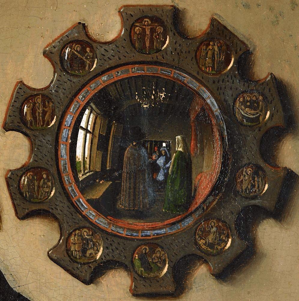 Detalle del espejo, con las diez escenas evangélicas