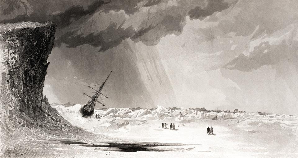 El Advance atrapado por el hielo. Expedición de E. Kane (1856).