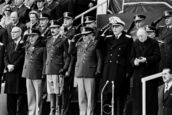 Videla y parte de la Junta Militar en el Mundial de Argentina 78. Foto cortesía de AFP.
