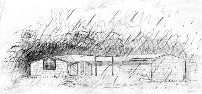 Boceto original del arquitecto en el que se observa cómo la lluvia cobra mayor importancia que la propia casa.