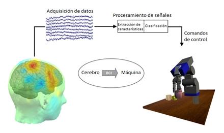 Esquema de la comunicación cerebro-máquina (adaptado por el autor)