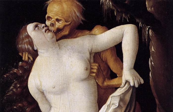 Detalle de La muerte y la doncella, Hans Baldung Grien, 1518.