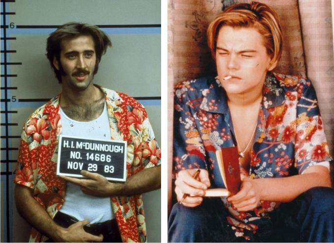 Nicolas Cage en Rising Arizona. Imagen: bla. Leonardo Di Caprio en Romeo y Julieta. Imagen: 20th Century Fox.