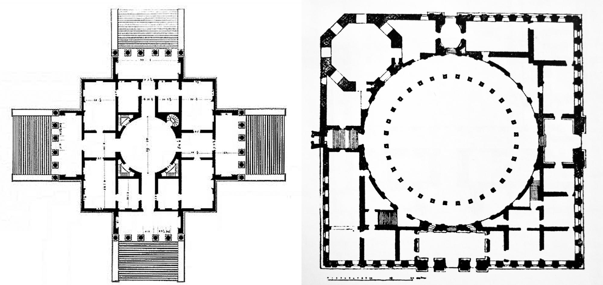 Las plantas de la Villa Rotonda (a la izquierda) y del Palacio de Carlos V (a la derecha)