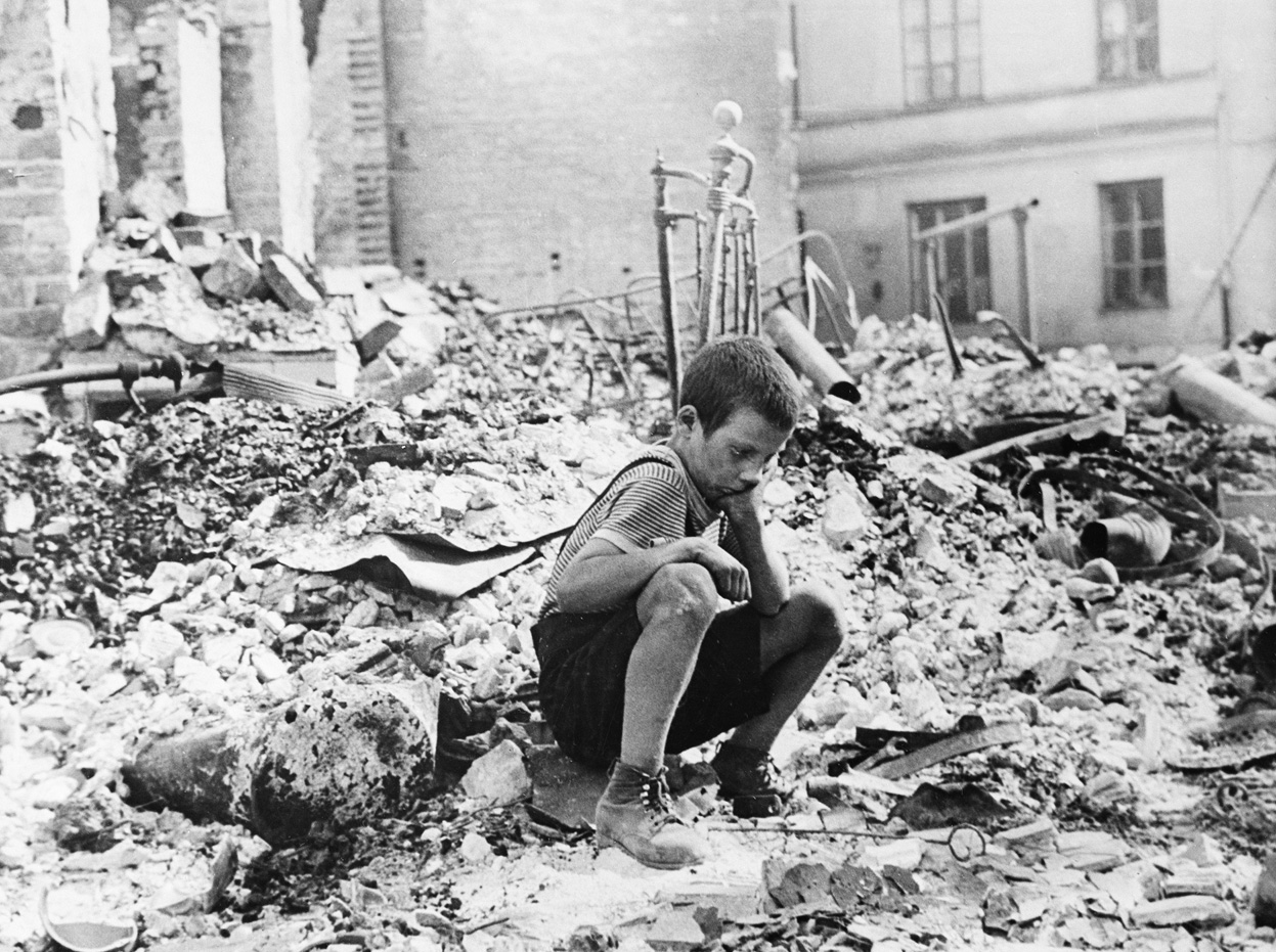 Polish kid in the ruins of Warsaw September 1939