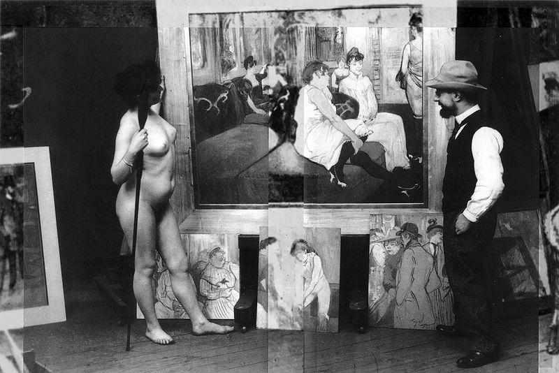 Toulouse Lautrec en su atelier, con una modelo (1895). Fotografía de Maurice Guibert (DP)