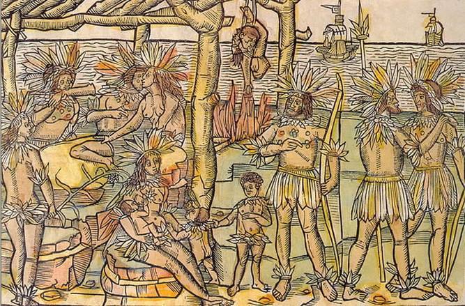 Grabado Amerikaner de Johan Froschauer, para el libro El nuevo mundo, de Americo Vespucio, en 1505.