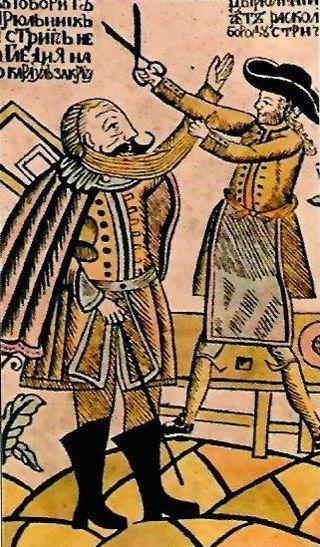 Caricatura del Siglo XVII, sobre el impuesto de llevar la barba. (DP)