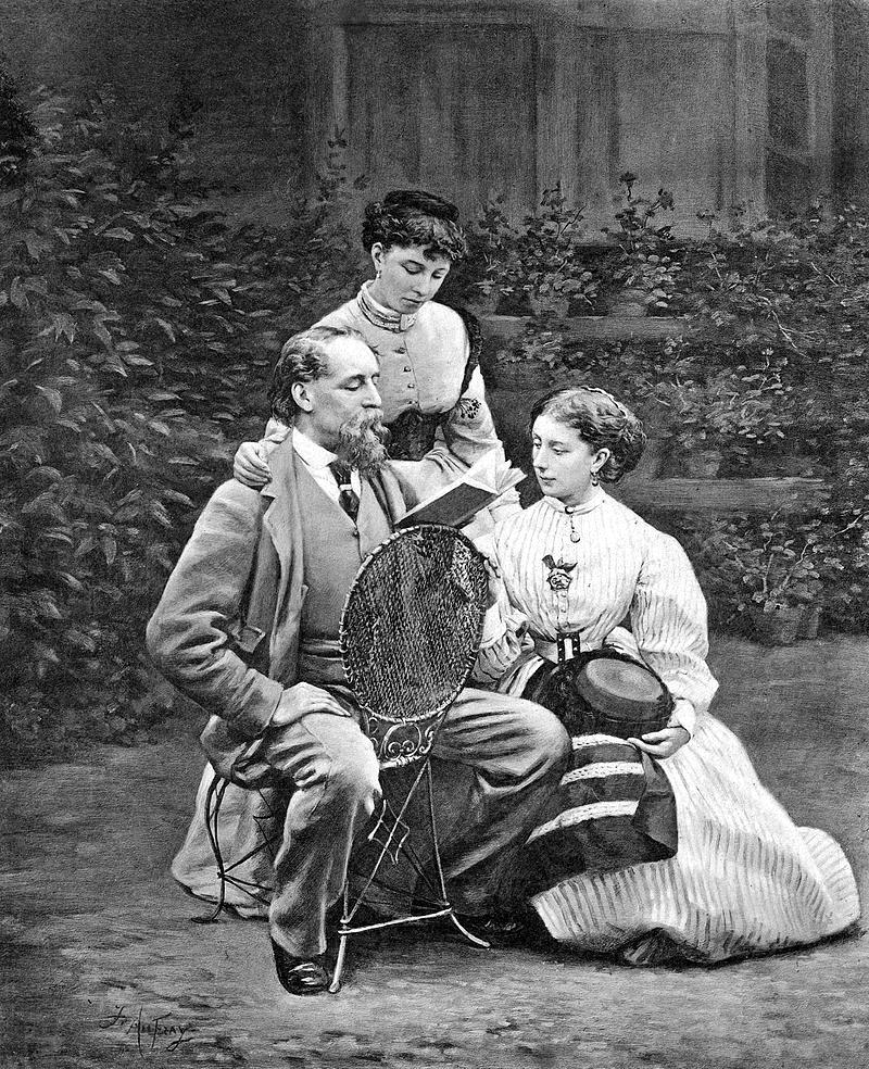 Charles Dickens leyendo a sus hijas (1863). Foto: R. H. Mason (DP).