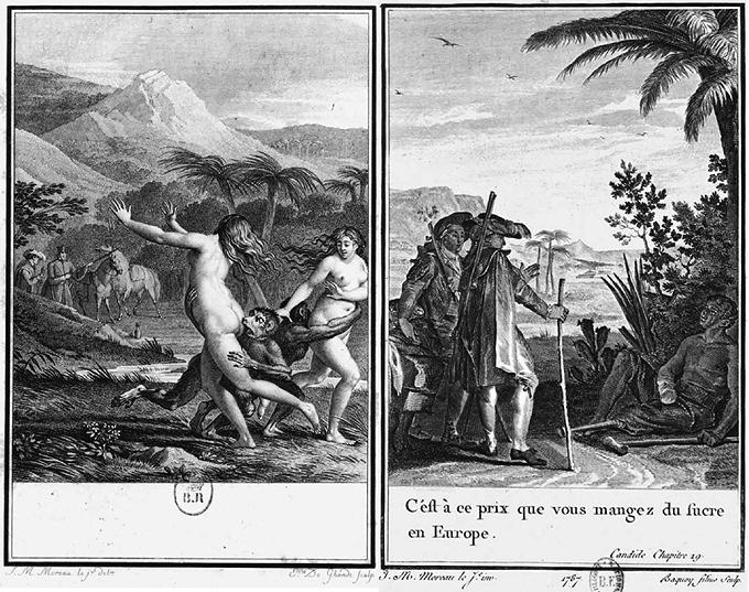 Dos ilustraciones de Cándido de Jean Michel Moreau 1787 DP