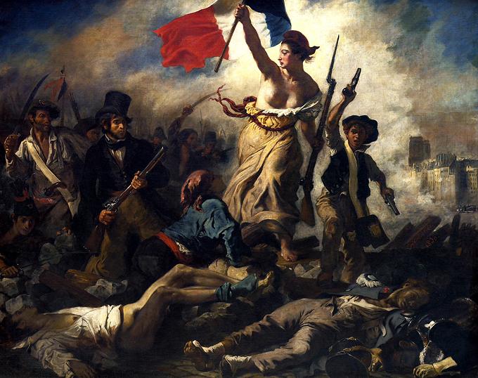 La libertad guiando al pueblo Eugène Delacroix 1830
