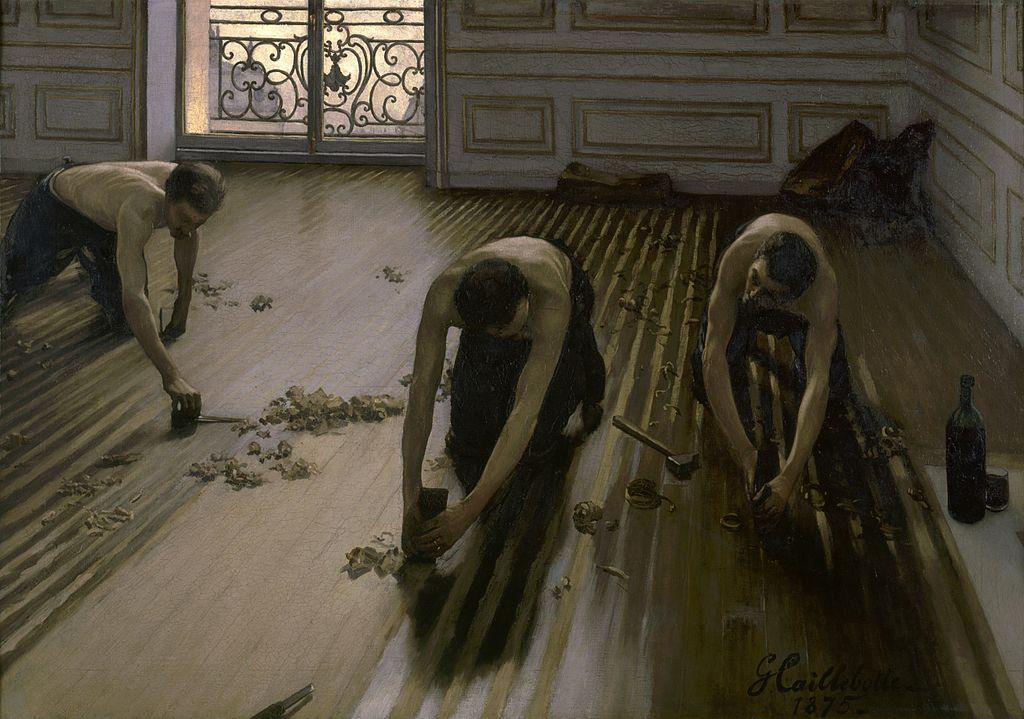 Los pulidores de parquet, de Gustave Caillebotte.