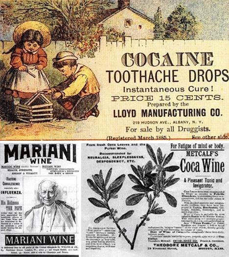Publicidad de productos con cocaína. En la imagen de Mariani puede verse al papa León XIII. Imagen: DP.