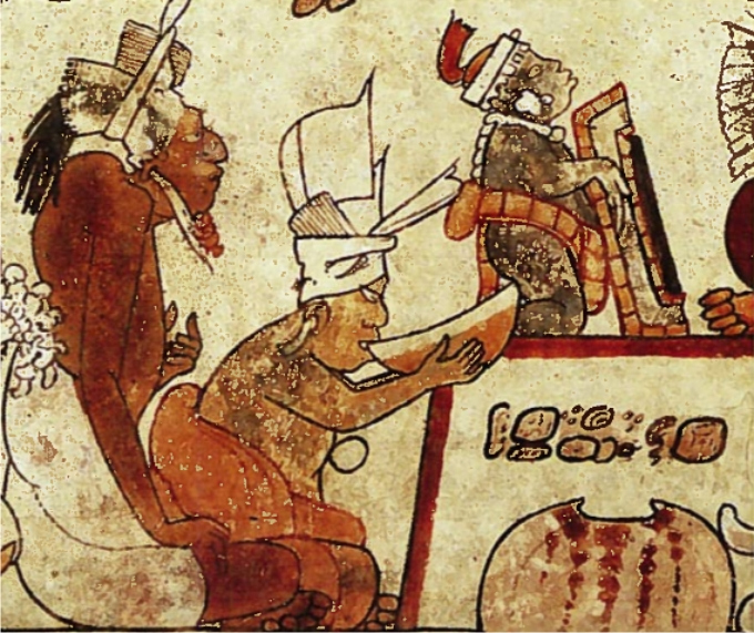 Dibujo en una cerámica de la cultura maya, entre el 600 y 900 d. C.