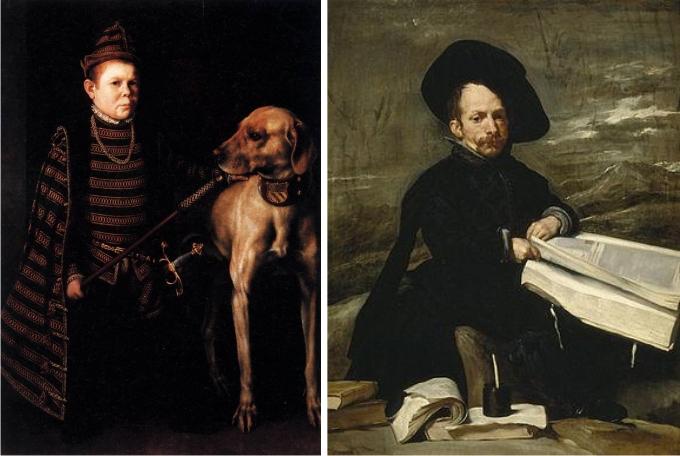 Izquierda: El enano del Cardenal Granvela, de Antonio Moro. Derecha: El bufón don Diego de Acedo, de Diego Velázquez.