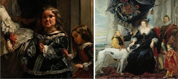 Izquierda: detalle de Las Meninas, de Diego Velázquez. Derecha: Alethea Howard, Condesa de Arundel, de Rubens.