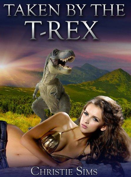 Portada de Taken by the T-Rex. La escritora aseguraba que pagaba 5 dólares por el diseño de cada portada, y también que probablemente era demasiado dinero. Imagen: Christie Sims.