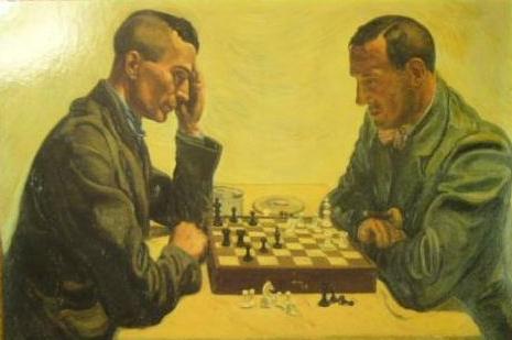 Ernst Jünger y Friedrich Georg Jünger jugando al ajedrez. Ilustración de Andreas Paul Weber (DP).