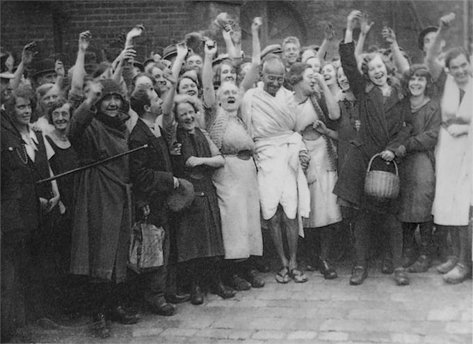 Mahatma Gandhi with textile workers at Darwen Lancashire England September 26 1931