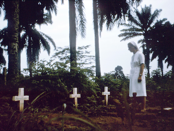 This photograph showed Sister Marietta as she walked among the grave sites of her colleagues that had perished during the Zaire now known as the Democratic Republic of the Congo Ebola outbreak of August 1976 PHIL Cen