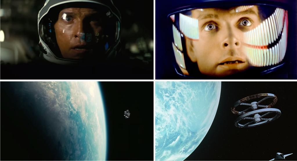 Izquierda: escenas de Interstellar (imágenes de Warner Bros Pictures). Derecha: escenas de 2001: una odisea del espacio (imágenes de Metro-Goldwyn-Mayer (MGM) / Stanley Kubrick Productions).