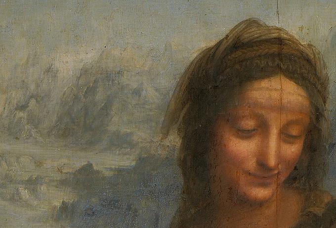 Detalle de La Virgen el Niño Jesús y Santa Ana Leonardo da Vinci ca. 1508. Imagen Playing Futures Applied Nomadology