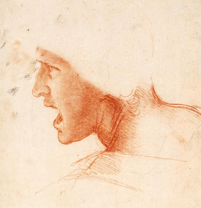 Estudio de la cabeza de un guerrero de La batalla de Anghiari Leonardo Da Vinci ca. 1505.