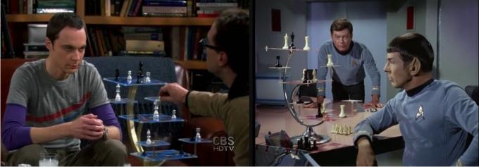 El ajedrez 3D jugado por Sheldon y por Mr. Spock. Imágenes: