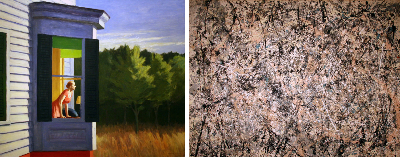 Cape Cod Morning, de Edward Hopper y Number 1, Lavender Mist, de Jackson Pollock. Ambas de 1950. Fotos: Cliff (CC)
