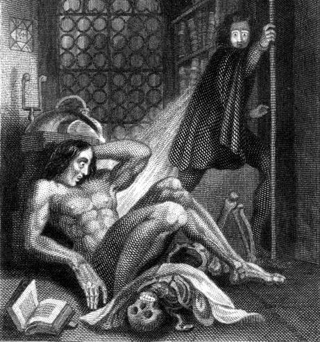 Ilustración de Theodore Von Holst para Frankenstein o el moderno Prometeo (DP)