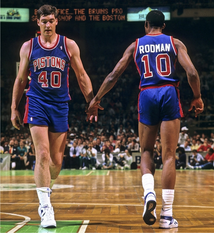 Bill Laimbeer y Dennis Rodman. Foto: Corbis.