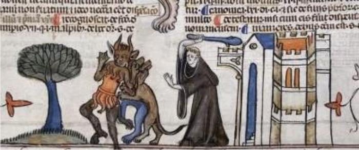 Monje defendiéndose a garrotazos de los demonios dibujado en los Decretos de Smithfield, año 1300.