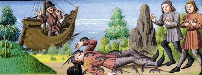 Una víctima de la peste devorada por las ratas, Le miroir historial, siglo XV.