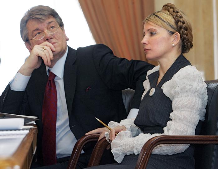 Víctor Yúschenko y Yulia Timoshenko en 2005. Representantes ambos del sector más liberal, su alianza ha pasado por serios altibajos.